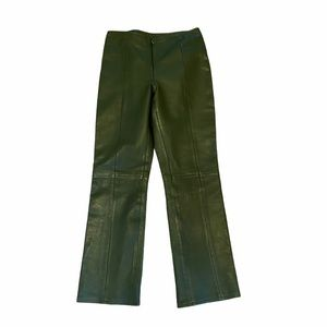 Cache Vintage Leather Pants Olive Green Size 4